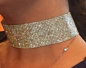 "Kim kardashian Choker Necklace, 1.5"" Clear rhinestone ribbon choker - Thick Wide Sparkly Trendy, CELEBRITY INSPIRED"