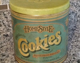 Vintage Tin Litho Cookie Canister Ballonoff Rustic Primitive Farmhouse Decor