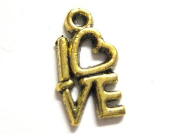 75% OFF- 20pcs Gold Love Charms - Word Box Beads - Valentine Day Pendants  082