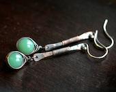 Long copper Aventurine earrings, green, gemstone, metalwork, wire wrapped, dangle, oxidized, drop, Mimi Michele Jewelry