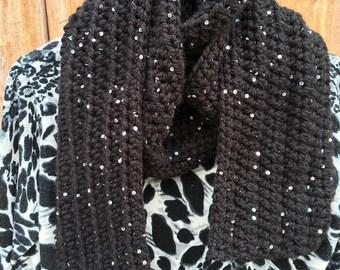Crochet scarf winter bling