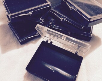 Storage plastic boxes 2 1/4 x 1 3/4 inches clear/ black, unused NEW Old Stock  packs of 10 to 50 varied available