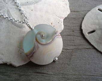 SeaScapes Pendant w Chain ~ Ocean Wave - Nantucket - Beach Glass - Handmade USA ~ Lampwork Glass