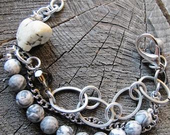 Gemstone Beaded Bracelet ~ Boho Bead Bracelet ~ Gemstone Bead Bracelet ~ Boho Beaded Bracelet ~ Gray Gemstone Bracelet ~ Agate Bracelet