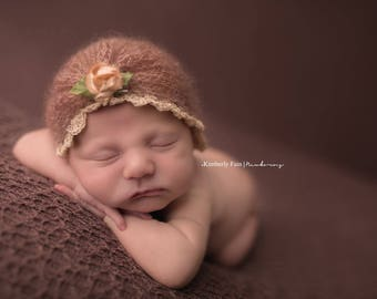 Newborn Mohair turban - Adjustable size -  Newborn Turban - Newborn Knitted Mohair bonnet - Newborn Photography Props- Baby Knit Mohair Hat