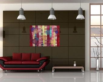 Textured Abstract Modern Art - Red Orbs - Modern Abstract - Quilt