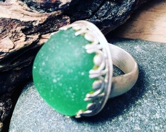 Green Sea Glass and Sterling Silver Ring Size 6 1/2