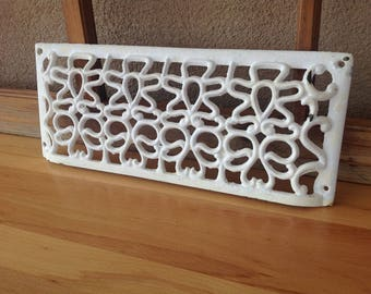 Antique Vintage Cast Iron Air Vent Cover Grill - Shabby Chic - White - Ornate