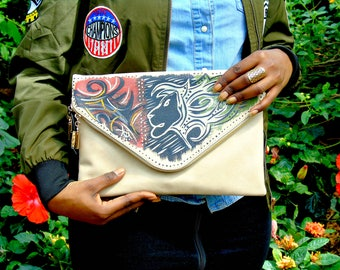 "Tribal Immunity Hand Painted Vegan Leather Beige Lion ""Majesty"" 2-in-1 Envelope Clutch Crossbody Handbag"