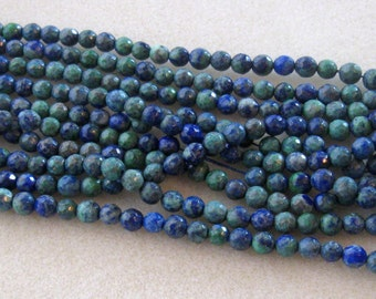 """Azurite Faceted  Round Beads, Gemstone Beads, Jewelry Making Beads, Necklace design, 15"""" Strand 6mm"""