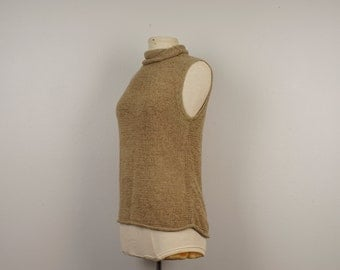 tan knit Tank Top Vintage mock turtleneck light brown shell sleeveless pullover top blouse Women Josephine Chaus Medium
