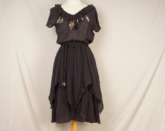 Contempo Casuals black Indian cotton gauze 70s dress with feathers and beads handkerchief hemline festival summer hippy boho midi dress