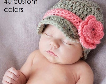 Baby Girl Hat, Newborn Girl, Newborn Baby, Girl Clothes, Baby Girl Layette, Coming Home Outfit, Infant Girl, Crochet Hats, Newsboy Hat