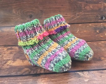 Purple Baby Girl Socks - Hand Knit Baby Socks - Knitted Baby Booties - Knit Socks for Babies - Stay On Socks Booties - Gifts for Babies