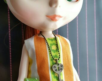 necklace for Blythe Barbie Doll - antiqued brass with large key