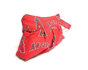 Pleated Wristlet in Angels Baseball Print