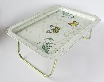 Mid Century Butterfly Graphics Metal Litho Lap Tray, TV Tray, Breakfast-in-Bed Tray