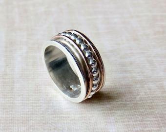 Spinner Ring For Women - Fidget Ring - Sterling Silver Spinner Ring For Her - Fidget Ring - Gold and Silver Ring - Stacking Ring -Eternity R
