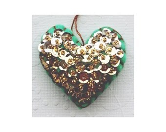 Felt beaded sequin Heart Ornament