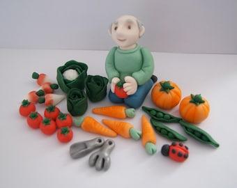 Personalised Handmade Edible Gardening Gardener Allotment Birthday Cake Topper/Decoration