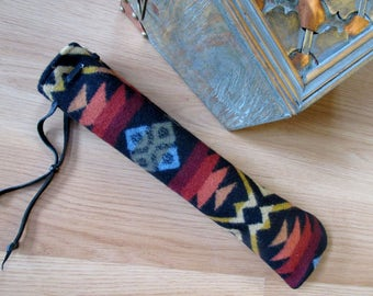 Wool Pennywhistle, Recorder, Quena, Whistle, or Fife Case, Drumstick, Pipe Native Flute Bag Southwest Coyote Butte Black 13 x 3