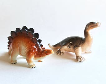 Vintage 1960's Set of Two Dinosuar Ceramic Figurines- Stegosaurus and Plesiosaur