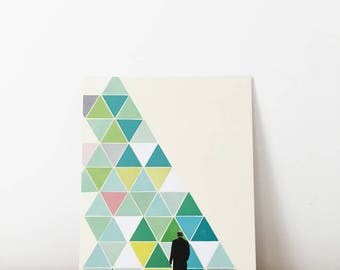 Original Artwork, Unique Geometric Minimalist Collage, One of a Kind - Obstacle