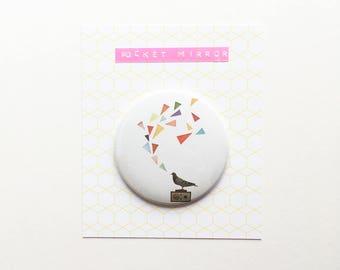 Singing Bird Pocket Mirror 76mm / 3 inches - Pigeon Radio