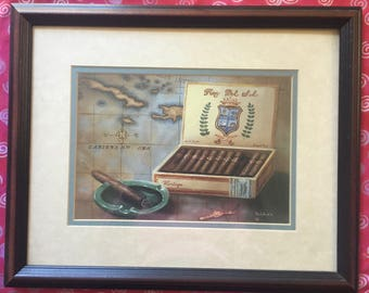 Vintage Framed Caribbean Cigar Print / Rey Del Sol Ashtray Box DeWann