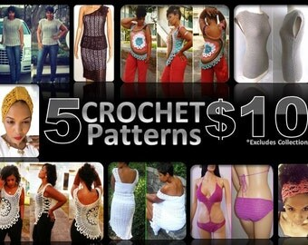 Crochet Pattern Sale - 5 for 10.00 - Pattern Deal - Crochet Pattern Collection - Crochet Deal - Cheap Crochet  - Plus Size Crochet  GuChet