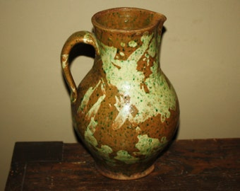 Antique Speckled 19th Century Ovoid Redware Pitcher; Primitive Country Folk Pottery