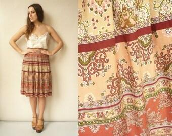 Vintage 1980's Floral Folk Pattern High Waisted Midi Skirt Size XS