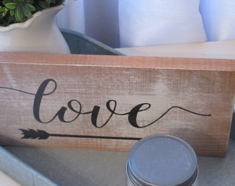 Hand Painted Wood Sign Love
