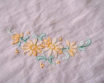 Vintage Embroidered Tablecloth Sheer Organdy Lilac Mauve Shadow Work 43 x 43