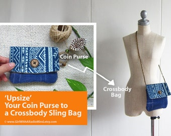 Crossbody Bag OR Coin Purse - Blue Denim Navajo Indigo (Chose Design in Your Preferred Size)