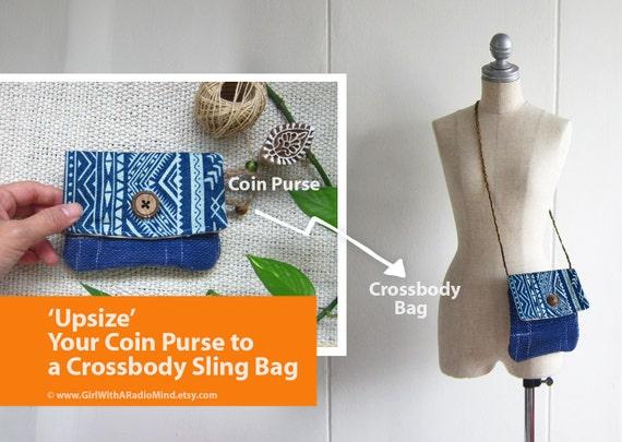 Crossbody Bag OR Coin Purse - Blue Denim Navajo Indigo (Chose Design in Your Preferred Size)