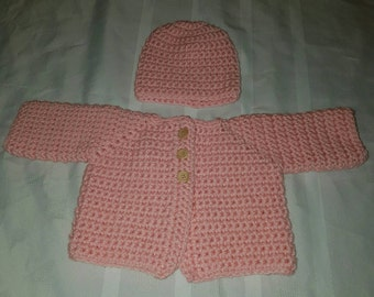 Crochetef Baby Pink Sweater and Hat  Ready to Ship