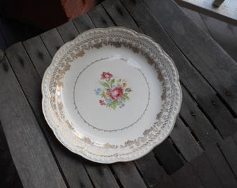 Vintage American Beauty by STETSON 23 KT. Gold  Decorative Floral Bone Porcelain Plate. Fine Porcelain table decor.