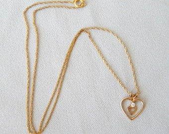 "Little Vintage Heart Pendant in 14 K G.F. , with a 18 "" G.F. Chain"