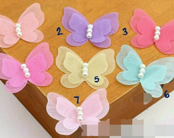 Organza butterflies - for diy , can be made as hairclips or other uses