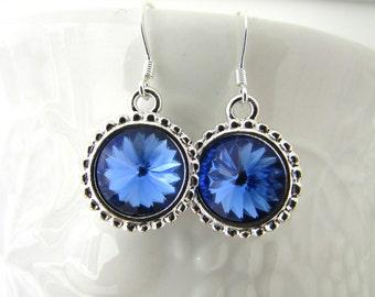 Sapphire Earrings, Birthstone Earrings, Rivoli Earrings, Swarovski Earrings, Rivoli Drop Earrings, Birthday, Mother Day, Free US Shipping