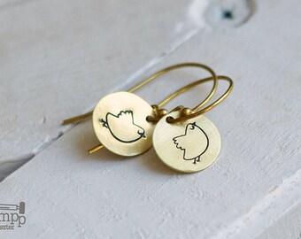 Cute, round BIRD earrings // raw brass hook earrings // hand stamped jewelry