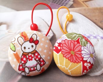 Girl Hair Accessories,Big Hair Tie Button Ponytail Holders-Japanese Traditional Kimono Orange Red Bow Bunny Floral Flowers (1 Pair)