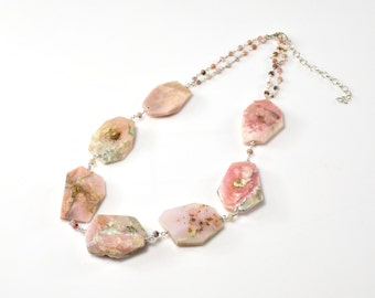 LP 1380  Faceted, Flat Pink Peruvian Opal Nugget, Sterling Silver Necklace
