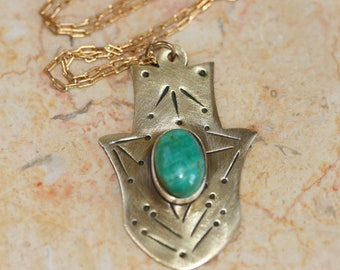 Tiny Brass Hamsa Pendant ,Brass Pendant , Eilat Stone Hamsa, Hammered Brass Hamsa Necklace ,Brass Pendant, Good Luck Jewelry, Brass Jewelry,