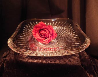 Large Square Crystal Center Piece Bowl