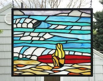 "Rolling Waves Beach Scene --12"" tall x 14"" wide -  Stained Glass Panel"