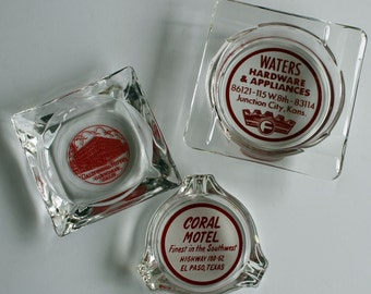 3 Vintage Glass Ashtrays...Coral Motel El Paso...California Hotel Glendale Ca...Waters Hardware Junction City Kansas