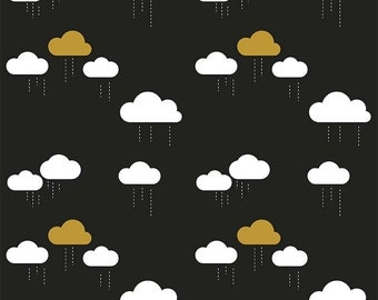 Black White and Gold Metallic Cloud Rain Fabric, When Skies Are Grey by Simple Simon & Company for Riley Blake, Skies Cloud in Black, 1 Yard