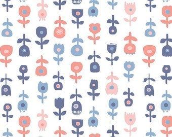 Blue Coral and White Floral Cotton Fabric, InBlue by Katarina Roccella for Art Gallery Fabrics, De Roos in Licht, 1 Yard